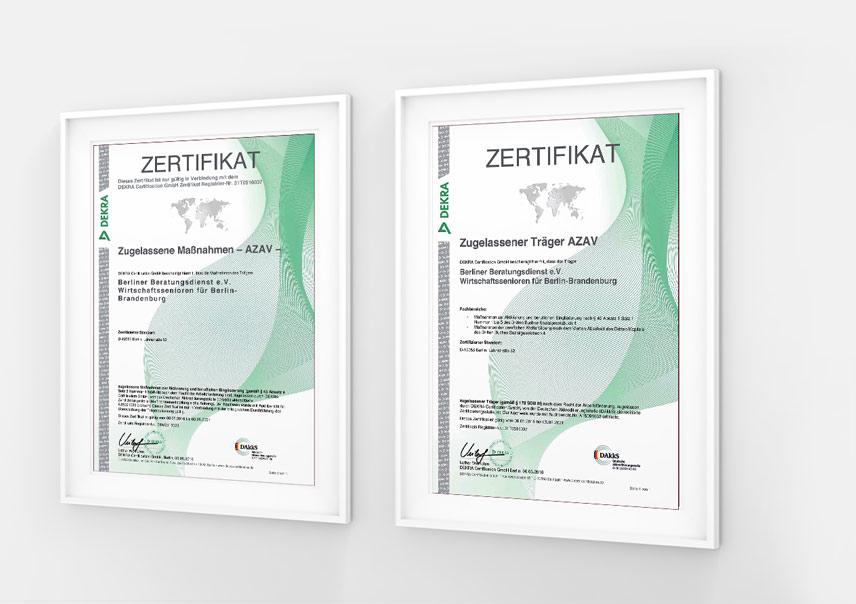 Wirtschaftssenioren Berlin Brandenburg Zertifikate
